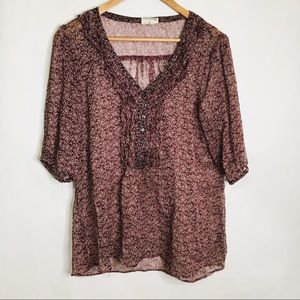 Converse One Star burgundy sheer floral blouse